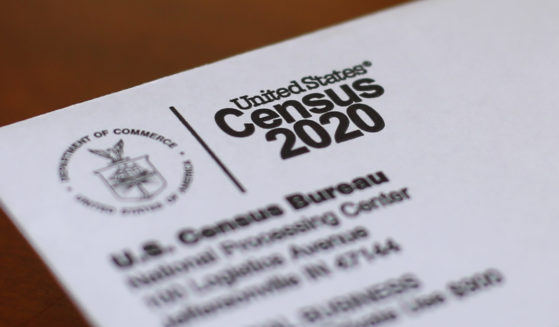This April 5, 2020, photo shows an envelope containing a 2020 census letter mailed to a U.S. resident in Detroit.
