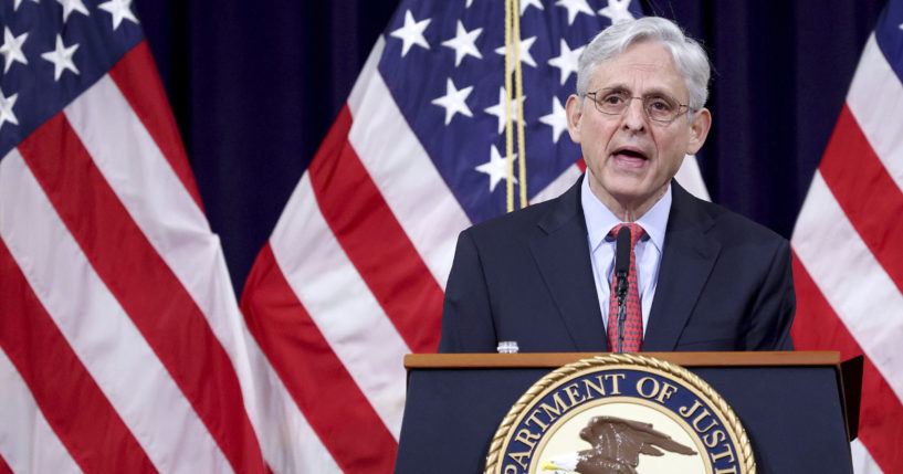 Attorney General Merrick Garland speaks at the Justice Department in Washington, D.C., on June 15, 2021.