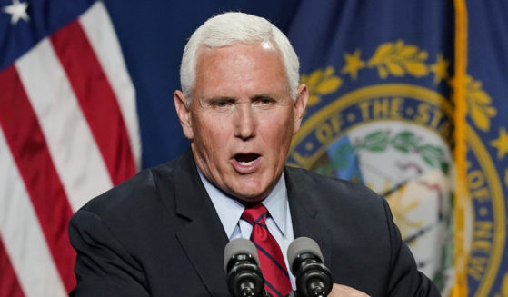 Former Vice President Mike Pence speaks on Thursday in Manchester, New Hampshire.