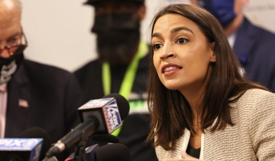 Democratic Rep. Alexandria Ocasio-Cortez of New York speaks during a news conference at Jacobi Hospital in the Morris Park neighborhood on Thursday in the Bronx borough of New York City.