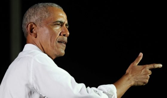 Former President Barack Obama campaigns for his former vice president, Joe Biden, at Florida International University in Miami on Nov. 2.