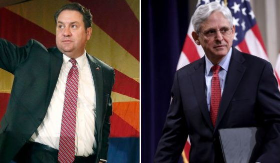 Arizona Republican Attorney General Mark Brnovich, left, is pictured side by side with U.S. Attorney General Merrick Garland, right.