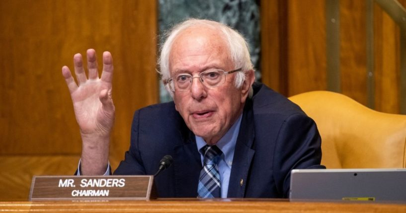 Independent Sen. Bernie Sanders of Vermont questions acting Director of the Office of Management and Budget Shalanda Young during a Senate Budget Committee hearing on June 8, 2021, on Capitol Hill in Washington, D.C.