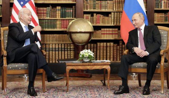 President Joe Biden, left, meets with Russian President Vladimir Putin at the Villa la Grange in Geneva on Wednesday.