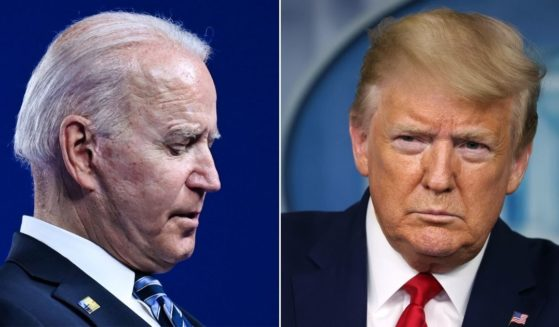 At left, President Joe Biden appears to look at his notes during a press conference after the NATO summit in Brussels on Monday. At right, then-President Donald Trump listens to questions from reporters during a news conference in the Brady Press BriefingRoom of the White House on April 6, 2020.