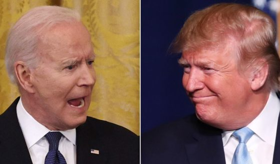 At left, President Joe Biden speaks in the East Room of the White House on May 20, 2021. At right, then-President Donald Trump speaks at the King Jesus International Ministry in Miami on Jan. 3, 2020.
