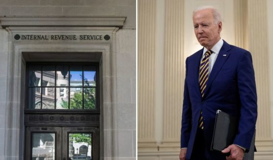 The Internal Revenue Service, left, rejected an application from Christians Engaged on the basis of supposed Republican political ideology, which one commentator noted might be news to Democratic President Joe Biden, right, who has said that his Catholic religious views impact his political beliefs.