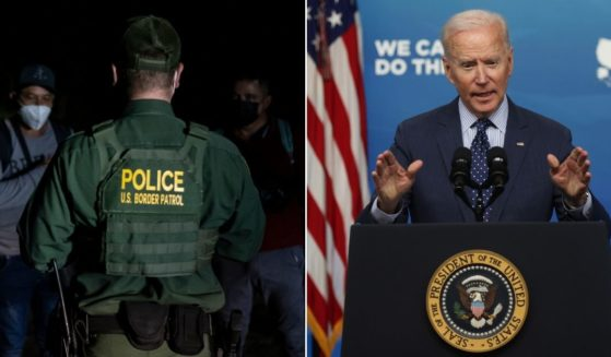 At left, a Border Patrol agent speaks to migrant men apprehended near the border between Mexico and the United States in Del Rio, Texas, on May 16. At right, President Joe Biden speaks during an event in the South Court Auditorium of the White House in Washington on Wednesday.