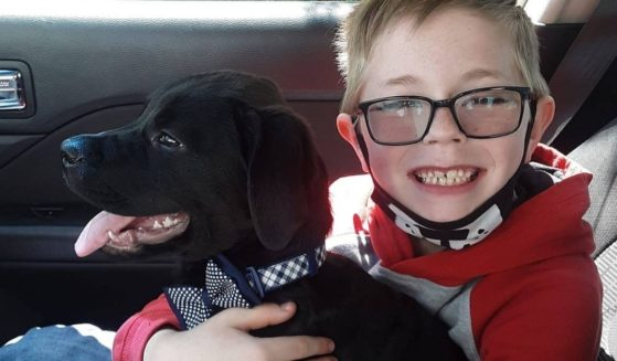 8-year-old Bryson holds his dog, Bruce, who was diagnosed with a deadly canine virus. Bryson sold his prized Pokémon cards to raise money for Bruce's treatment.
