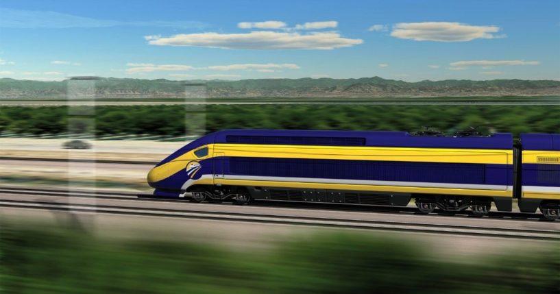 An artist's concept shows a high-speed train in California.