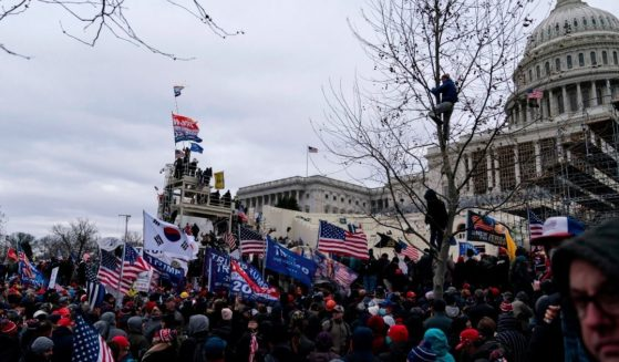 Protesters gather outside the U.S. Capitol on Jan. 6, 2021, in Washington, D.C.