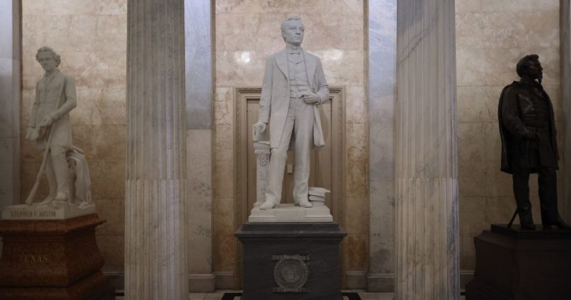 A statue of John E. Kenna, a Confederate soldier from West Virginia and a U.S. senator after the Civil War, is on display in the U.S. Capitol Hall of Columns on June 18, 2020, in Washington, D.C.