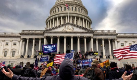 Pro-Trump protesters gather in front of the U.S. Capitol building on Jan. 6, 2021, in Washington, D.C.
