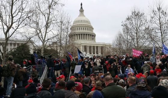Protesters gather outside the U.S. Capitol in Washington on Jan. 6.