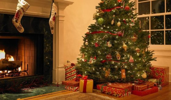 The above stock photo shows a living room during Christmas.