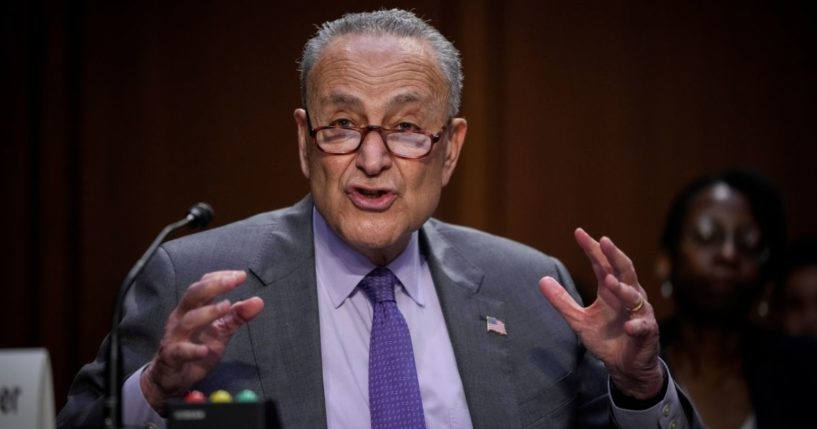 Senate Majority Leader Chuck Schumer speaks during a Senate Judiciary Committee hearing on judicial nominations last week in Washington, D.C.