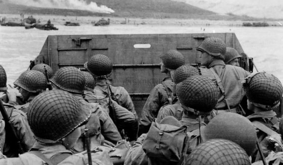 """Troops in an LCVP landing craft approaching """"Omaha"""" Beach on """"D-Day"""" on June 6 1944."""