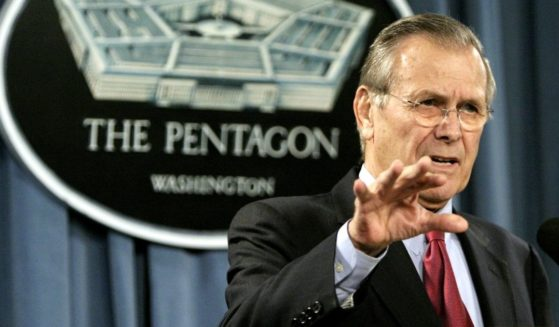 Then-Defense Secretary Donald Rumsfeld gestures during a news conference at the Pentagon on Jan. 11, 2005, in Arlington, Virginia.