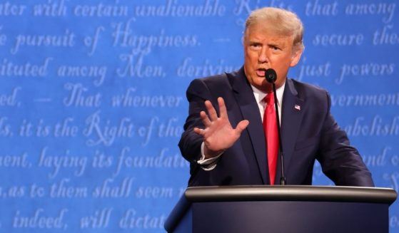 Former President Donald Trump participates in the final presidential debate against Democratic presidential nominee Joe Biden at Belmont University on Oct. 22, 2020, in Nashville, Tennessee.