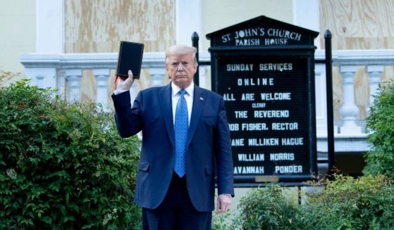 President Donald Trump holds a Bible while visiting St. John's Church across from the White House on June 1, 2020, in Washington, D.C.