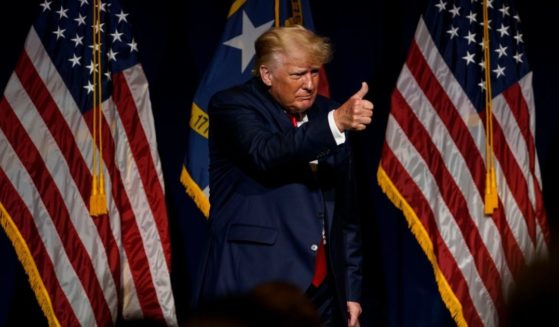 Former President Donald Trump appears at the North Carolina Republican Party convention on Saturday in Greenville, North Carolina.
