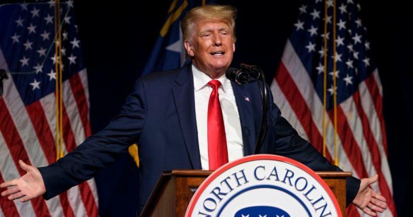 Former President Donald Trump addresses the North Carolina GOP state convention on Saturday in Greenville, North Carolina.