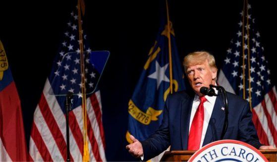 Former President Donald Trump addresses the North Carolina Republican Party convention on June 5, 2021, in Greenville, North Carolina.