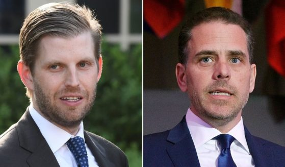 At left, Eric Trump attends a ceremony in the Rose Garden of the White House on May 6, 2019. At right, Hunter Biden speaks in Washington on April 12, 2016.