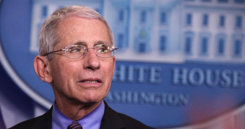Dr. Anthony Fauci, director of the National Institute of Allergy and Infectious Diseases, listens during the daily coronavirus briefing in the Brady Press Briefing Room of the White House on April 9, 2020.