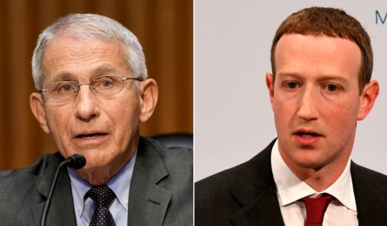 At left, Dr. Anthony Fauci, director of the National Institute of Allergy and Infectious Diseases, speaks during a Senate Health, Education, Labor and Pensions Committee hearing in Washington on May 11. At right, Facebook founder and CEO Mark Zuckerberg speaks in Munich, southern Germany, on Feb. 15, 2020.