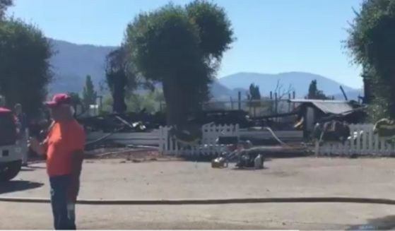 The rubble of a church on Penticton Indian Band in British Columbia that was burned on June 21.