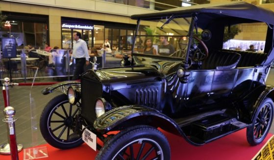 A 1923 Ford Model T touring vintage car is pictured on display during the third edition of the Classic Car Show 2017 in Beirut on Sept. 7, 2017.