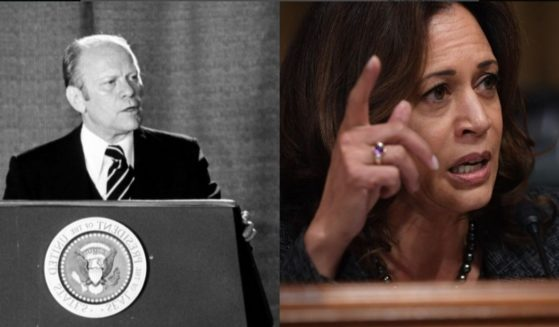 Former President Gerald Ford, left, seemingly predicted what role Vice President Kamala Harris would take on years before she entered office.