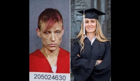Former drug addict Ginny Burton's mug shot is pictured next to a photo of Burton in her graduation cap and gown.