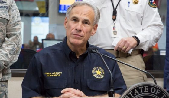 Republican Gov. Greg Abbott gives a briefing at the State of Texas Emergency Command Center at DPS headquarters in Austin, Texas, on Aug. 27, 2017.