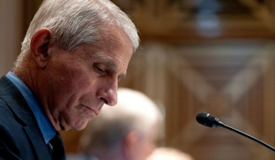 Dr. Anthony Fauci, the director of the National Institute of Allergy and Infectious Diseases, listens during a Senate Appropriations Subcommittee hearing on May 26, 2021, on Capitol Hill in Washington, D.C.