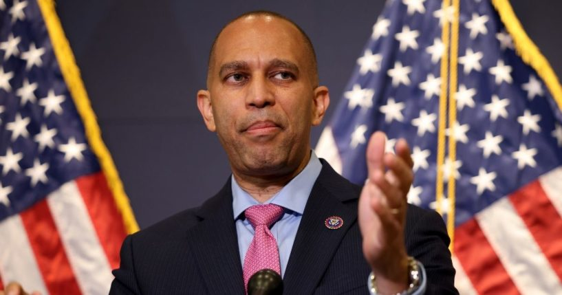 Democratic Rep. Hakeem Jeffries of New York speaks to reporters following a House Democratic Caucus meeting in the Capitol Visitor Center on June 15, 2021, in Washington, D.C.