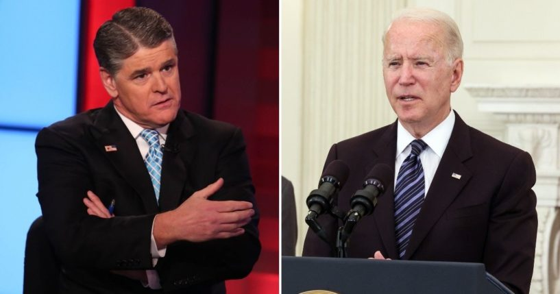 Fox News' Sean Hannity, left, took a jab at Olympic competitor Gwen Berry and President Joe Biden, right, for their treatment of the national anthem and American flag.