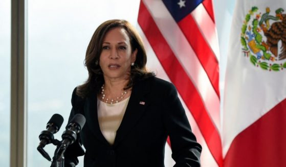 Vice President Kamala Harris speaks during a news conference in Mexico City on Tuesday.