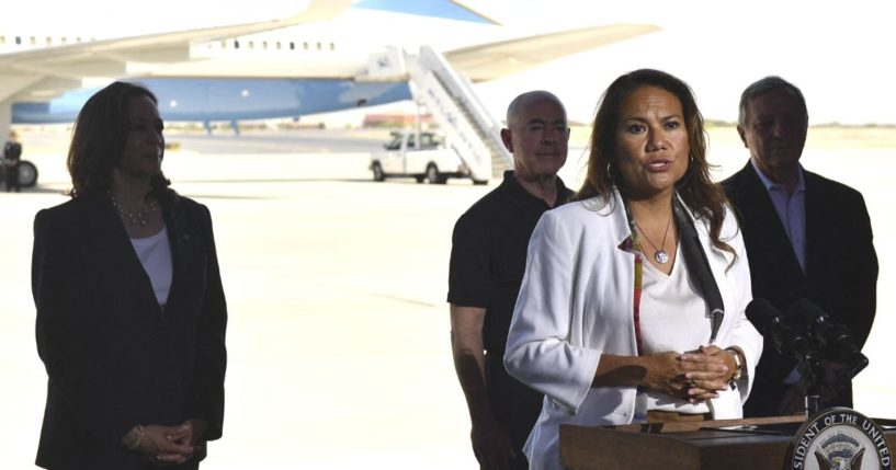 Vice President Kamala Harris (L), Secretary of Homeland Security Alejandro Mayorkas (2nd-L) and Democratic Sen. Dick Durbin of Illinois (R) listen as Democratic Rep. Veronica Escobar of Texas speaks during a news conference at El Paso International Airport, on Friday in El Paso, Texas.