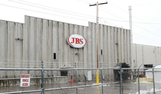 The JBS meatpacking plant in Greeley, Colorado, was temporarily closed in April 2020 during the coronavirus pandemic.