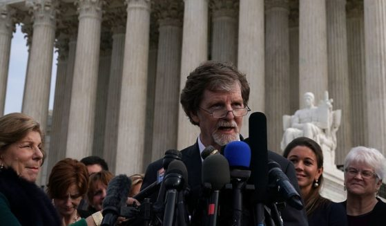 Cake artist Jack Phillips speaks to members of the media in front of the U.S. Supreme Court on Dec. 5, 2017, in Washington, D.C.