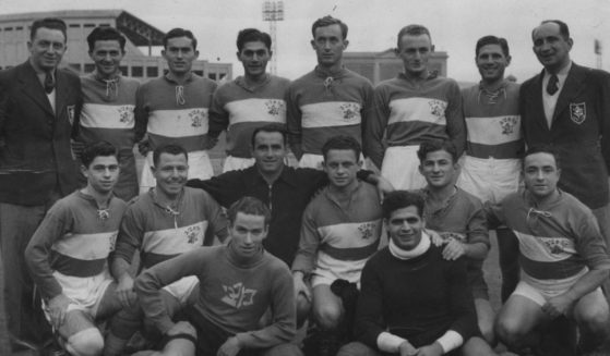 The 1939 Maccabi Tel Aviv soccer team is pictured above.
