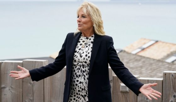First lady Jill Biden speaks with reporters after visiting with Carrie Johnson, wife of British Prime Minister Boris Johnson, ahead of the G7 summit on Thursday in Carbis Bay, England.