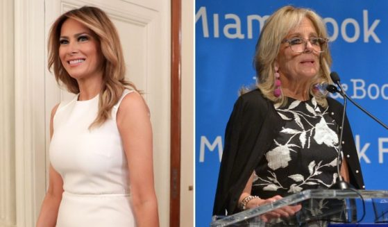 """Then-first lady Melania Trump, left, arrives at a roundtable on sickle cell disease in the State Dining Room of the White House on Sept. 14, 2020, in Washington, D.C. Current first lady Jill Biden discusses her book """"Where the Light Enters: Building a Family, Discovering Myself"""" at Miami Dade College on May 16, 2019, in Miami."""