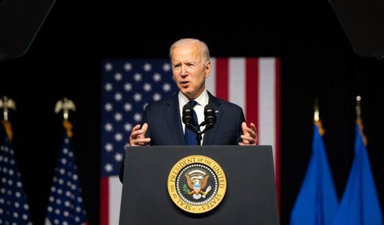 President Joe Biden speaks at a rally on Tuesday in Tulsa, Oklahoma.