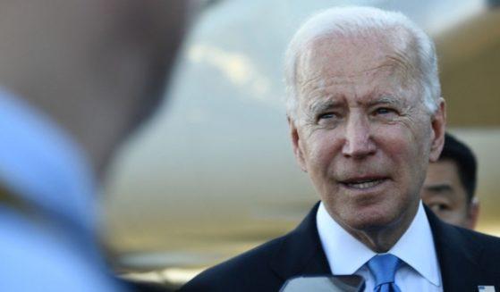 President Joe Biden speaks with the media on Wednesday