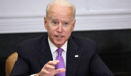 President Joe Biden speaks during a meeting with advisers at the White House in Washington on Tuesday.