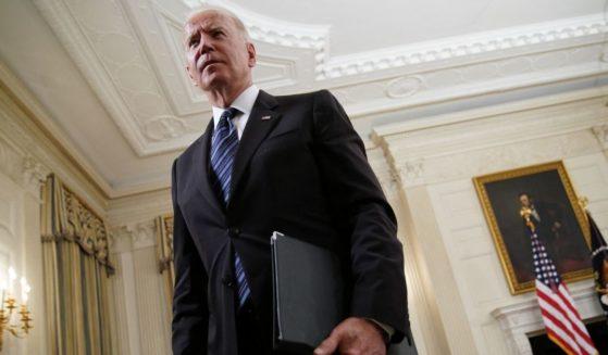 President Joe Biden leaves after speaking at the White House on Wednesday in Washington, D.C.