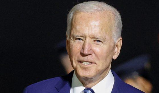 President Joe Biden arrives at Cornwall Airport Newquay on Wednesday near Newquay, Cornwall, England.